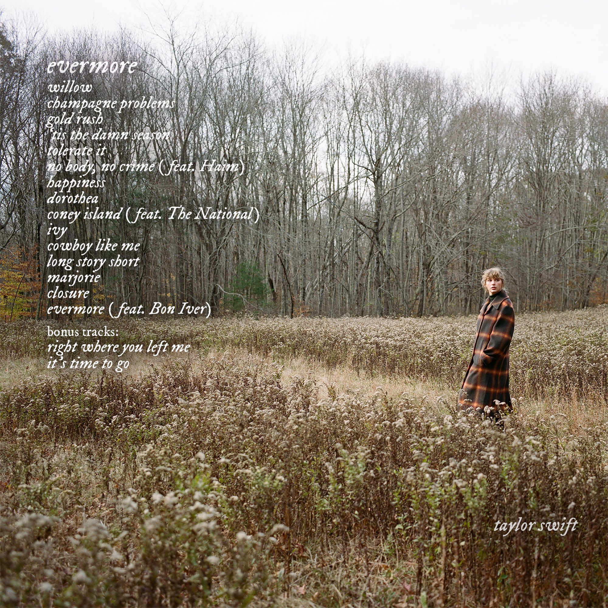 Taylor Swift Evermore Back Cover - Taylor Swift - evermore (Album)
